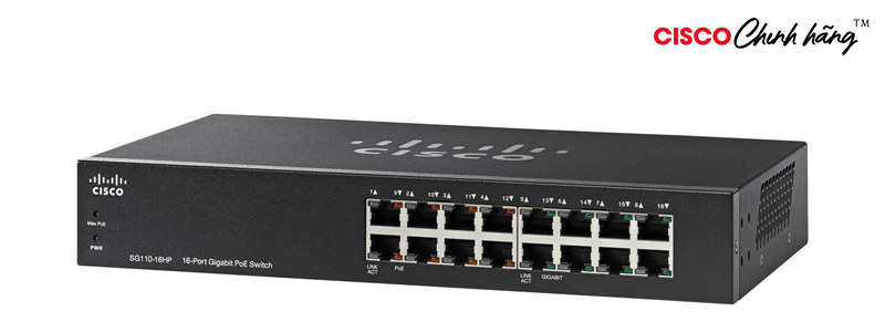 SG110-16HP Cisco SG110-16HP 16-Port PoE Gigabit Switch