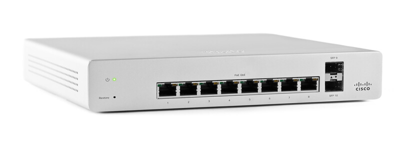 MS220-8 8-port gigabit switch with 2 SFP interfaces