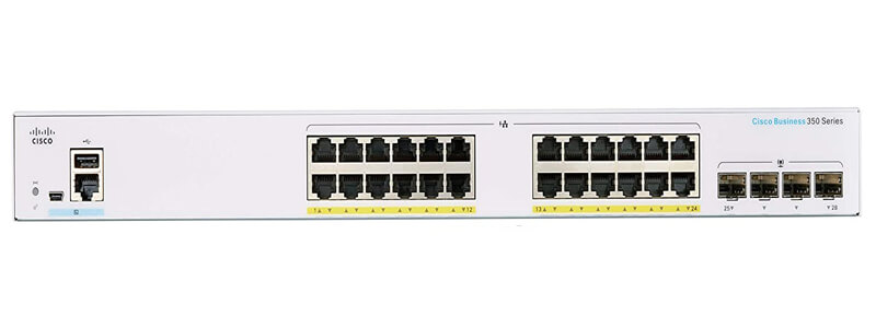 SMB CBS350-24FP-4G 24 10/100/1000 PoE+ ports with 370W power budget, 4 Gigabit SFP